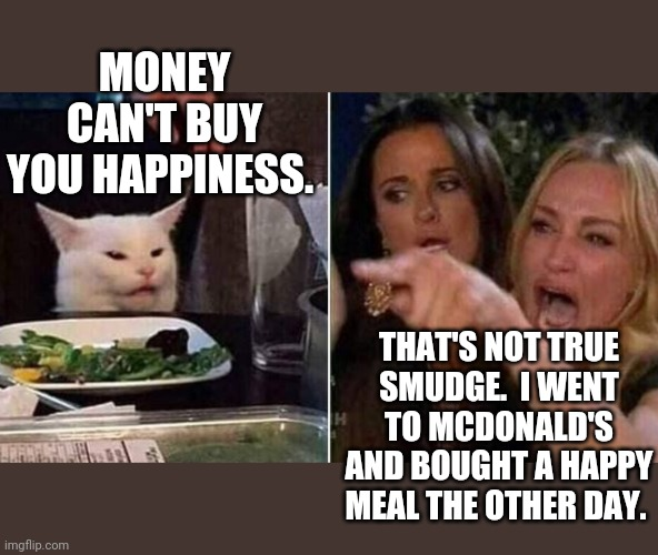 Reverse Smudge and Karen |  MONEY CAN'T BUY YOU HAPPINESS. THAT'S NOT TRUE SMUDGE.  I WENT TO MCDONALD'S AND BOUGHT A HAPPY MEAL THE OTHER DAY. | image tagged in reverse smudge and karen | made w/ Imgflip meme maker