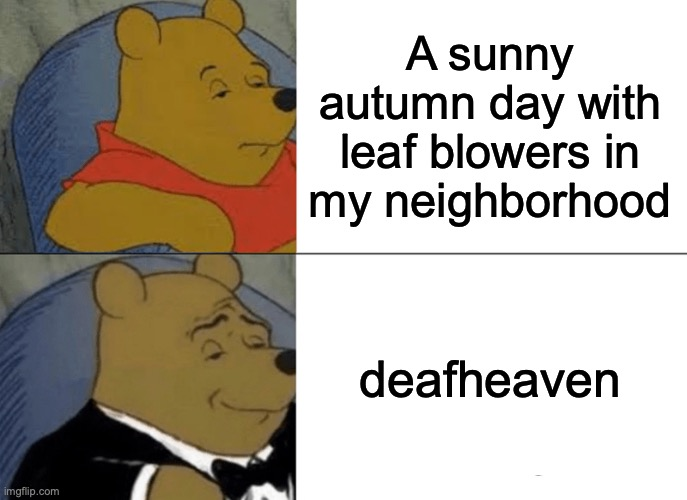 Tuxedo Winnie The Pooh Meme |  A sunny autumn day with leaf blowers in my neighborhood; deafheaven | image tagged in memes,tuxedo winnie the pooh | made w/ Imgflip meme maker