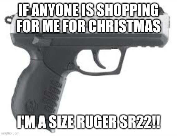 IF ANYONE IS SHOPPING FOR ME FOR CHRISTMAS; I'M A SIZE RUGER SR22!! | image tagged in christmas | made w/ Imgflip meme maker