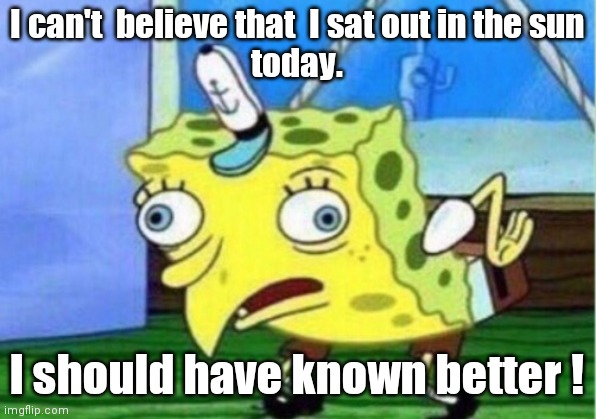 Mocking Spongebob Meme |  I can't  believe that  I sat out in the sun today. I should have known better ! | image tagged in memes,mocking spongebob | made w/ Imgflip meme maker