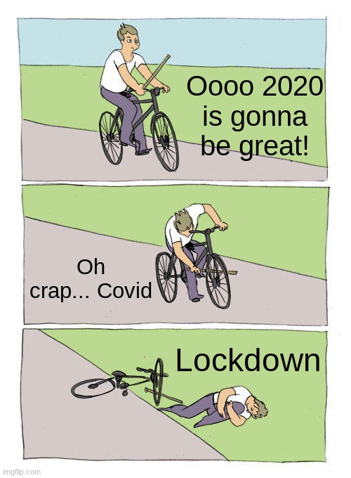 no, No, NO, NOOOO |  Oooo 2020 is gonna be great! Oh crap... Covid; Lockdown | image tagged in memes,bike fall,true | made w/ Imgflip meme maker
