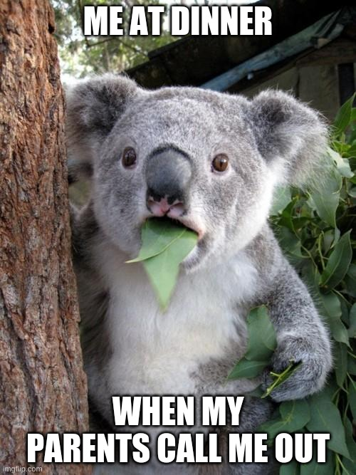 Surprised Koala |  ME AT DINNER; WHEN MY PARENTS CALL ME OUT | image tagged in memes,surprised koala,food,parents | made w/ Imgflip meme maker