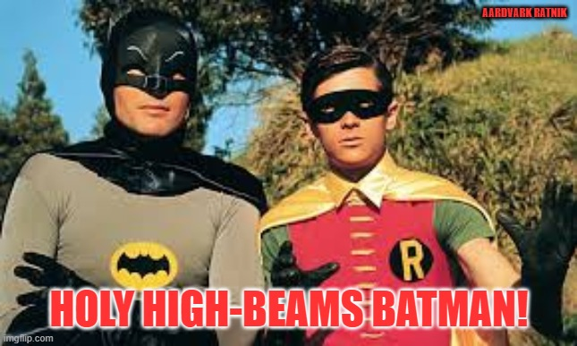 Holy High_Beams |  AARDVARK RATNIK; HOLY HIGH-BEAMS BATMAN! | image tagged in comments,funny memes,batman and robin,sexy women,boobs | made w/ Imgflip meme maker