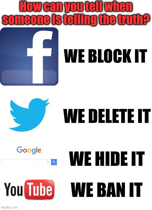 How can you tell when someone is telling the truth? WE BLOCK IT; WE DELETE IT; WE HIDE IT; WE BAN IT | image tagged in twitter birds says,facebook,blank white template,youtube,google before after | made w/ Imgflip meme maker