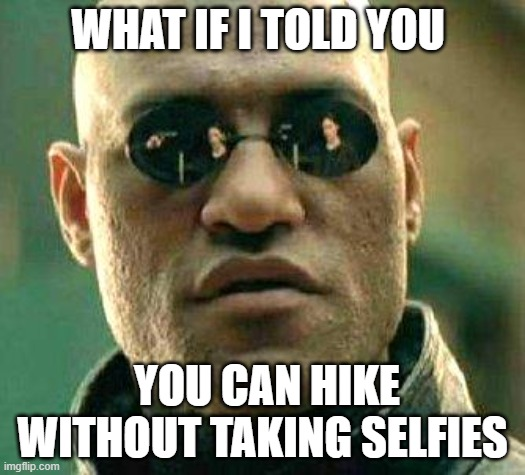 hiking selfie |  WHAT IF I TOLD YOU; YOU CAN HIKE WITHOUT TAKING SELFIES | image tagged in what if i told you,hiking,selfie | made w/ Imgflip meme maker