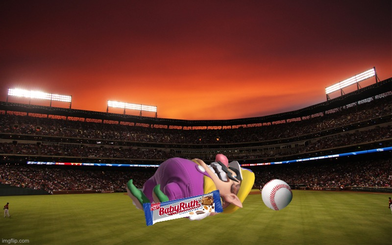 Wario dies from a baseball to his skull while eating a Baby Ruth.mp3 | image tagged in baby ruth,wario dies,wario,baseball,memes | made w/ Imgflip meme maker