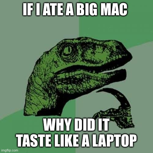 Do you know |  IF I ATE A BIG MAC; WHY DID IT TASTE LIKE A LAPTOP | image tagged in memes,philosoraptor | made w/ Imgflip meme maker