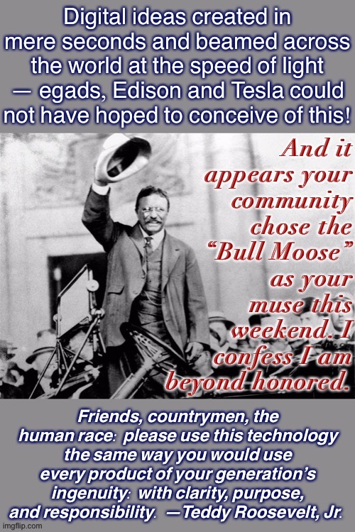 Teddy's warning to us today. | image tagged in social media,memes about memes,memes about memeing,teddy roosevelt,responsibility,purpose | made w/ Imgflip meme maker