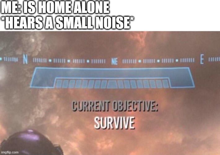 Current Objective: Survive |  ME: IS HOME ALONE *HEARS A SMALL NOISE* | image tagged in current objective survive | made w/ Imgflip meme maker