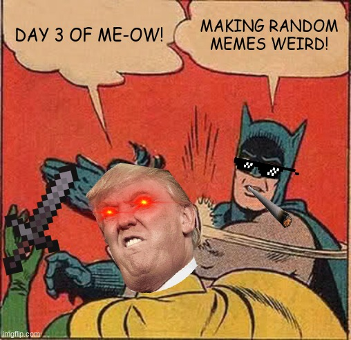 Day 3 of me Making Random Memes Weird |  DAY 3 OF ME-OW! MAKING RANDOM MEMES WEIRD! | image tagged in memes,batman slapping robin,funny,donald trump | made w/ Imgflip meme maker