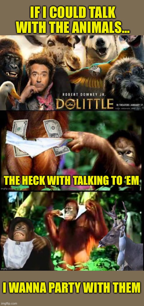 Dolittle Wrap Party |  IF I COULD TALK WITH THE ANIMALS... THE HECK WITH TALKING TO 'EM; I WANNA PARTY WITH THEM | image tagged in dolittle,wrap,movie,party | made w/ Imgflip meme maker