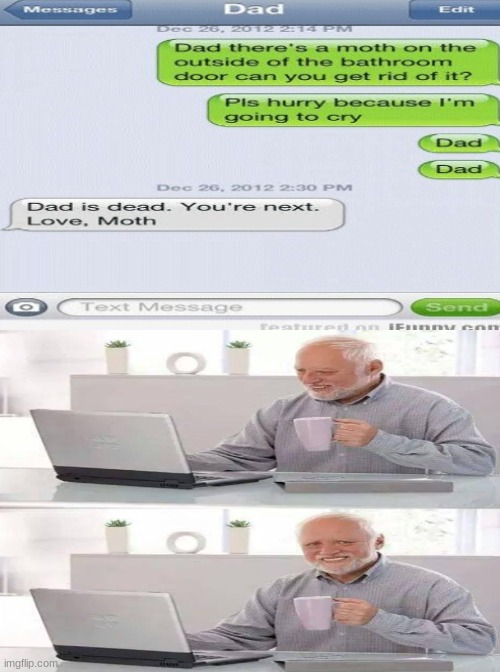 Moth | image tagged in moth,dad,computer guy,texting,fun,old man | made w/ Imgflip meme maker