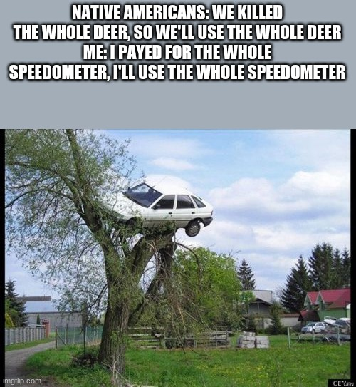 I am speed |  NATIVE AMERICANS: WE KILLED THE WHOLE DEER, SO WE'LL USE THE WHOLE DEER ME: I PAYED FOR THE WHOLE SPEEDOMETER, I'LL USE THE WHOLE SPEEDOMETER | image tagged in memes,secure parking,cars,speed,funny | made w/ Imgflip meme maker