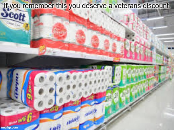 Toilet Paper 2020 |  If you remember this you deserve a veterans discount. | image tagged in toilet paper,veterans,remember,lol,yes,e | made w/ Imgflip meme maker