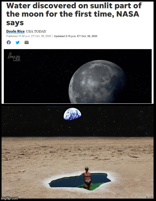 image tagged in moon,nasa,water,space,pool,bikini | made w/ Imgflip meme maker