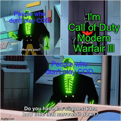 I'm sprry if I'm wrong but I feel like they made 13mil games called MWF3 |  I'm Call of Duty Modern Warfair lll; People who don't play COD; People who don't play COD | image tagged in do you have the slightest idea how little that narrows it down | made w/ Imgflip meme maker