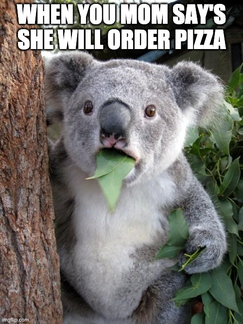 Surprised Koala |  WHEN YOU MOM SAY'S SHE WILL ORDER PIZZA | image tagged in memes,surprised koala | made w/ Imgflip meme maker