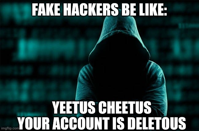 Fake hackers be like: |  FAKE HACKERS BE LIKE:; YEETUS CHEETUS YOUR ACCOUNT IS DELETOUS | image tagged in bruh moment,hacking,hackers | made w/ Imgflip meme maker