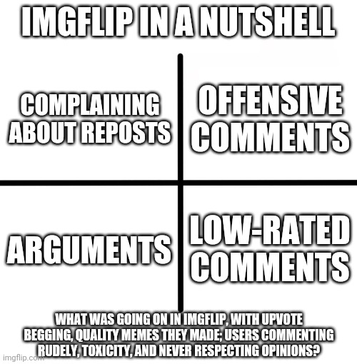 Is it really necessary on Imgflip? |  IMGFLIP IN A NUTSHELL; OFFENSIVE COMMENTS; COMPLAINING ABOUT REPOSTS; LOW-RATED COMMENTS; ARGUMENTS; WHAT WAS GOING ON IN IMGFLIP, WITH UPVOTE BEGGING, QUALITY MEMES THEY MADE; USERS COMMENTING RUDELY, TOXICITY, AND NEVER RESPECTING OPINIONS? | image tagged in memes,blank starter pack,imgflip,what is going on,help | made w/ Imgflip meme maker