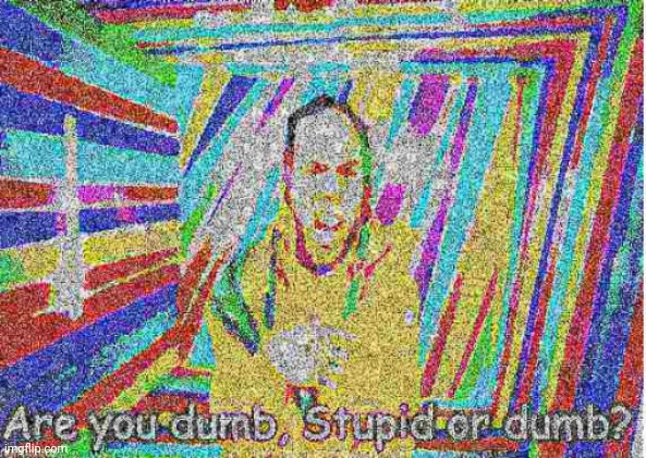 image tagged in deep fried are you dumb or stupid or dumb | made w/ Imgflip meme maker
