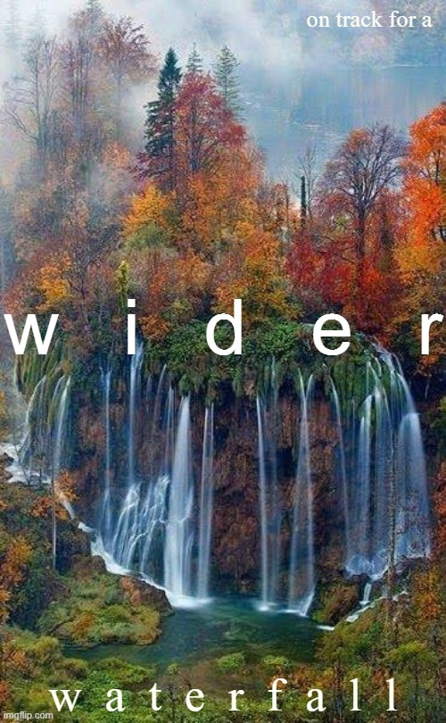 [motion to  w  i  d  e  n  the waterfall] |  on track for a; w   i   d   e   r; w  a  t  e  r  f  a  l  l | image tagged in plitvice lakes national park,waterfall | made w/ Imgflip meme maker