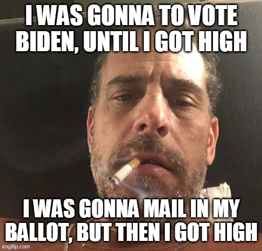 Trump is still my President and I know why | I WAS GONNA TO VOTE BIDEN, UNTIL I GOT HIGH I WAS GONNA MAIL IN MY BALLOT, BUT THEN I GOT HIGH | image tagged in hunter biden | made w/ Imgflip meme maker