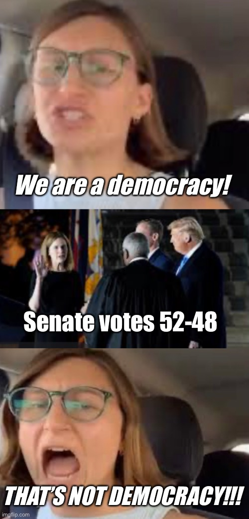 We only approve democratic democracy |  We are a democracy! Senate votes 52-48; THAT'S NOT DEMOCRACY!!! | image tagged in supreme court,derp,liberal logic,2016 election | made w/ Imgflip meme maker