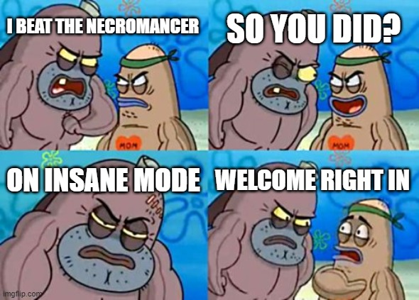 How Tough Are You |  SO YOU DID? I BEAT THE NECROMANCER; ON INSANE MODE; WELCOME RIGHT IN | image tagged in memes,how tough are you | made w/ Imgflip meme maker