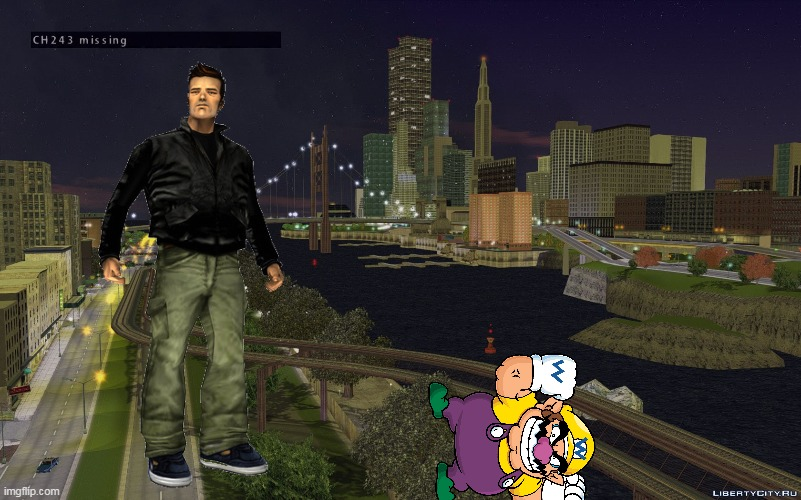 wario messes with claude and dies.mp3 | image tagged in memes,wario,liberty city,gta 3,grand theft auto,wario dies | made w/ Imgflip meme maker