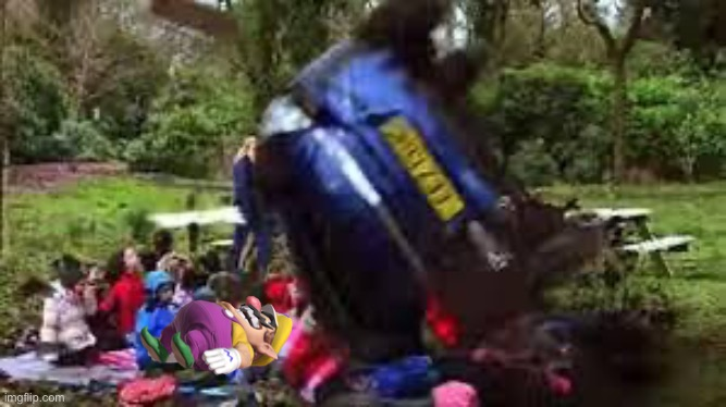 Wario dies from a a rolling car while sleeping in a field trip.mp3 | image tagged in car crushing children,doe road safety,wario,wario dies,memes | made w/ Imgflip meme maker