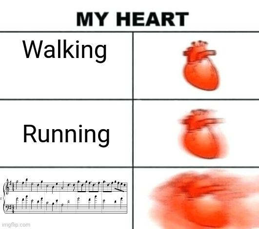 Heart rate |  Walking; Running | image tagged in heart rate | made w/ Imgflip meme maker