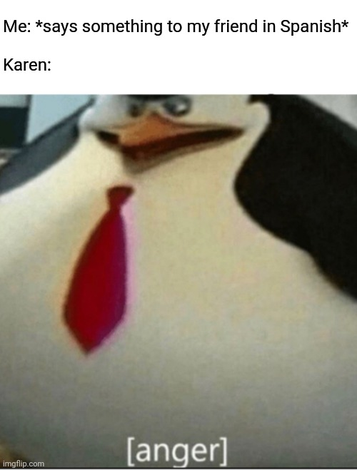[anger] |  Me: *says something to my friend in Spanish*   Karen: | image tagged in anger,memes,karen,funny | made w/ Imgflip meme maker