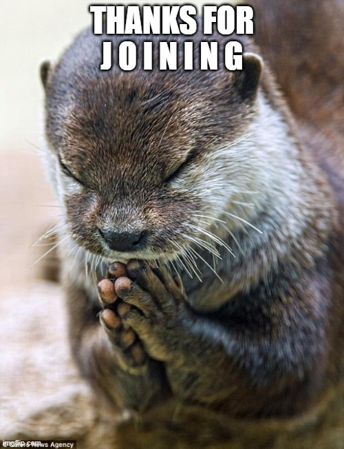 upvote or else i kick all of u jk |  THANKS FOR J O I N I N G | image tagged in thank you lord otter | made w/ Imgflip meme maker