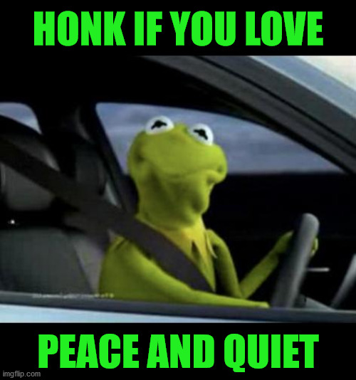 Kermit Driving |  HONK IF YOU LOVE; PEACE AND QUIET | image tagged in kermit driving,memes,peace was never an option,a quiet place,honk,but thats none of my business | made w/ Imgflip meme maker