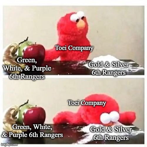 elmo cocaine |  Toei Company; Green, White, & Purple 6th Rangers; Gold & Silver 6th Rangers; Toei Company; Green, White, & Purple 6th Rangers; Gold & Silver 6th Rangers | image tagged in elmo cocaine,power rangers,super sentai,toei company,6th rangers,gold and silver | made w/ Imgflip meme maker
