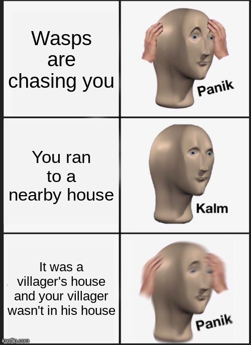 Animal Crossing meme |  Wasps are chasing you; You ran to a nearby house; It was a villager's house and your villager wasn't in his house | image tagged in memes,panik kalm panik | made w/ Imgflip meme maker