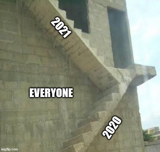 Bad Stairs 2020 |  2021; EVERYONE; 2020 | image tagged in meme,2020 sucks,2021,fail,steps | made w/ Imgflip meme maker