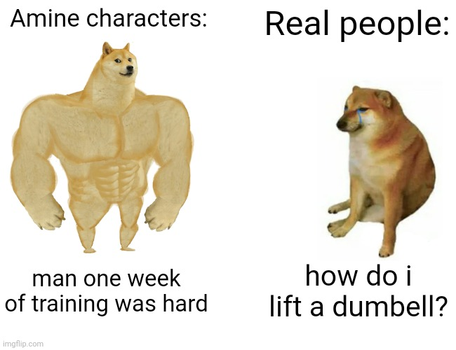 Anime be like |  Amine characters:; Real people:; man one week of training was hard; how do i lift a dumbell? | image tagged in memes,buff doge vs cheems | made w/ Imgflip meme maker