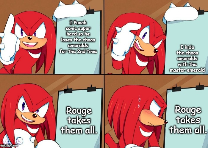 Dang it Knuckles |  I Punch sonic super hard so he loses the chaos emeralds for the 2nd time; I hide the chaos emeralds with the master emerald; Rouge takes them all. Rouge takes them all. | image tagged in knuckles | made w/ Imgflip meme maker