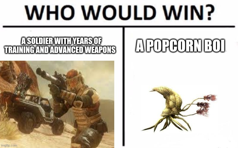 A SOLDIER WITH YEARS OF TRAINING AND ADVANCED WEAPONS; A POPCORN BOI | image tagged in halo,funny,flood | made w/ Imgflip meme maker