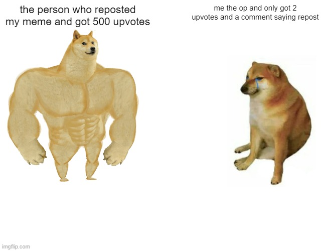 Buff Doge vs. Cheems |  the person who reposted my meme and got 500 upvotes; me the op and only got 2 upvotes and a comment saying repost | image tagged in memes,buff doge vs cheems | made w/ Imgflip meme maker