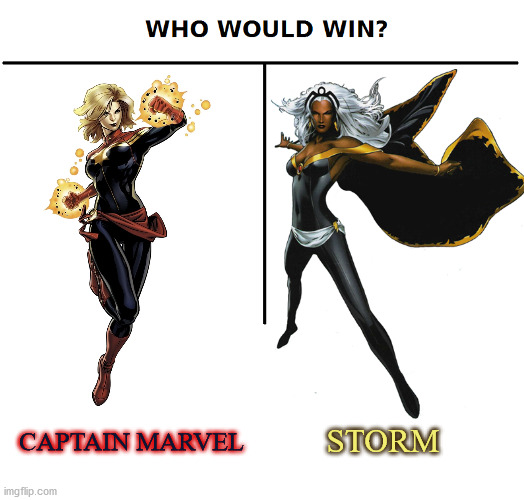 An intergalactic warrior VS a weather goddess! Who do you think would win? |  STORM; CAPTAIN MARVEL | image tagged in captain marvel,storm,marvel,who would win | made w/ Imgflip meme maker