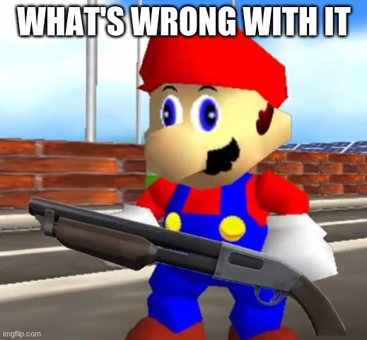 SMG4 Shotgun Mario | WHAT'S WRONG WITH IT | image tagged in smg4 shotgun mario | made w/ Imgflip meme maker