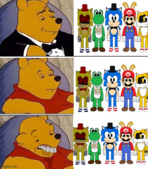 Tuxedo on Top Winnie The Pooh (3 panel) | image tagged in sonic the hedgehog,mario,yoshi,tails,super saiyan | made w/ Imgflip meme maker