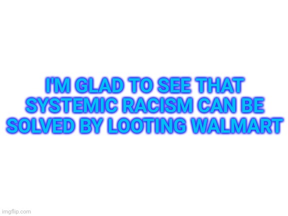 Blank White Template |  I'M GLAD TO SEE THAT SYSTEMIC RACISM CAN BE SOLVED BY LOOTING WALMART | image tagged in blank white template | made w/ Imgflip meme maker