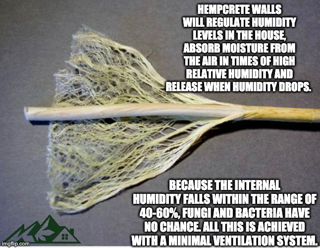 Hempcrete RH |  HEMPCRETE WALLS WILL REGULATE HUMIDITY LEVELS IN THE HOUSE, ABSORB MOISTURE FROM THE AIR IN TIMES OF HIGH RELATIVE HUMIDITY AND RELEASE WHEN HUMIDITY DROPS. BECAUSE THE INTERNAL HUMIDITY FALLS WITHIN THE RANGE OF 40-60%, FUNGI AND BACTERIA HAVE NO CHANCE. ALL THIS IS ACHIEVED WITH A MINIMAL VENTILATION SYSTEM. | image tagged in building | made w/ Imgflip meme maker