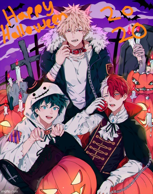Happy Halloween Y'all!!! | image tagged in mha,happy halloween,deku,todoroki | made w/ Imgflip meme maker