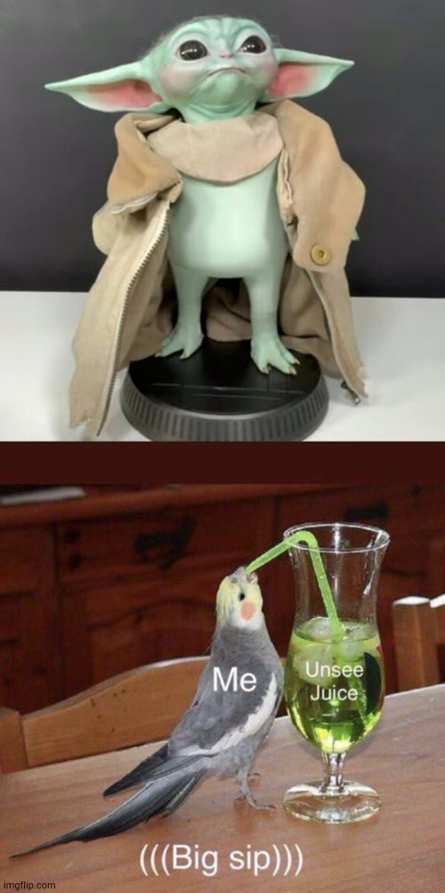 Warning: Cursed Image | image tagged in baby yoda,the mandalorian,star wars,unsee juice | made w/ Imgflip meme maker
