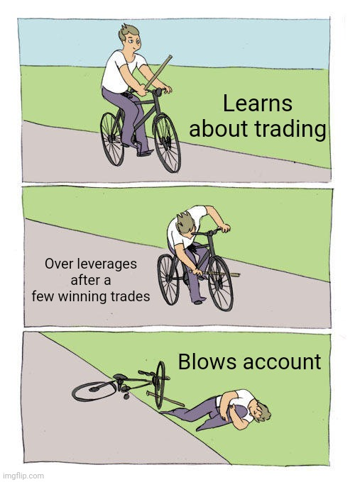 Trading Over Leverage |  Learns about trading; Over leverages after a few winning trades; Blows account | image tagged in memes,bike fall,trading,forex,forex trading,over leverage | made w/ Imgflip meme maker