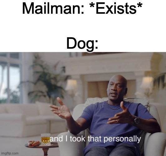and I took that personally |  Mailman: *Exists*; Dog: | image tagged in and i took that personally | made w/ Imgflip meme maker